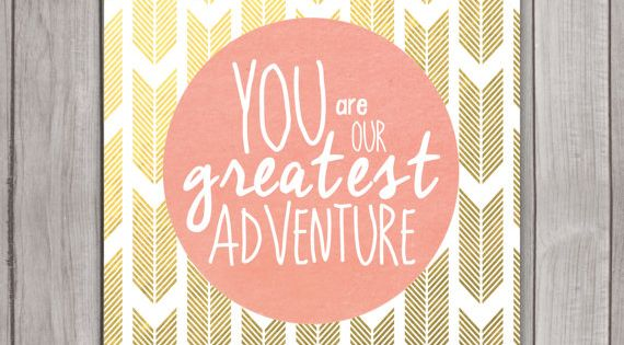 You Are Our Greatest Adventure Nursery Wall Art Poster Instant Download, Coral