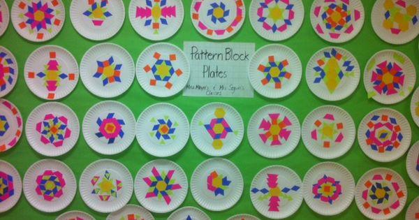 Pattern block plates — math art grade blocks