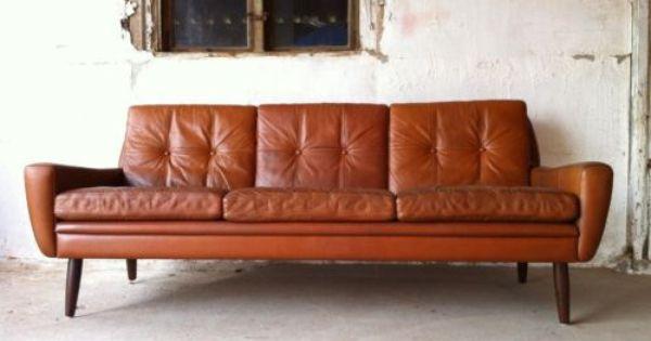 Mid Century Sofa Leder Danish Design Danemark 50er 60er In Altona