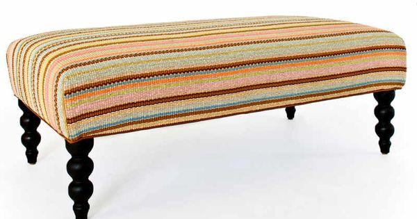 Zanzibar ticking turned leg rug ottoman dash albert for Dash and albert blankets