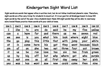 FREE Kindergarten Sight Word List and Assessment - 100 words ...