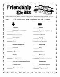Friendship Skills Printable Friendship Skills Friendship