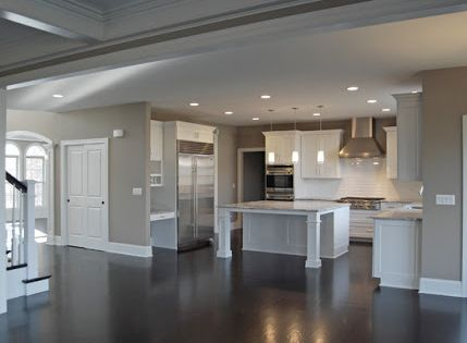 Grey Kitchen Walls White Cabinets gray walls, white trim, dark floors.manda | color/design