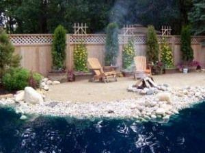 Backyard Beach Making The Pool Layout Like An Ocean Backyard Beach Sand Backyard Ponds Backyard