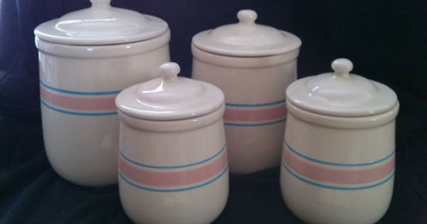 MCCOY ART POTTERY SET 4 PINK BLUE STRIPE CANISTERS