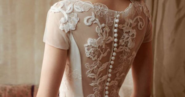 Brides Gowns Handfastings Weddings: Lace wedding dress with vintage buttons running down