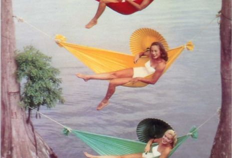 three ( 3 ) vintage summer divas in colorful hammocks