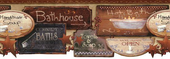 Bath Signs Wallpaper Border Country Folk Art Primitive Rustic Bath House Soap Bath Sign Wallpaper Borders For Bathrooms Primitive Decorating Country