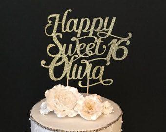 Wondrous Any Name Glitter Happy Sweet 16 Birthday Cake Topper Sweet Personalised Birthday Cards Epsylily Jamesorg