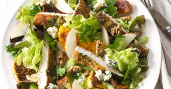 warm chicken schnitzel salad with apples, pumpkin and blue cheese ...