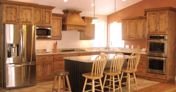 Knotty hickory kitchen cabinets rustic knotty alder kitchen cabinets home ideas pinterest - Knotty hickory kitchen cabinets ...
