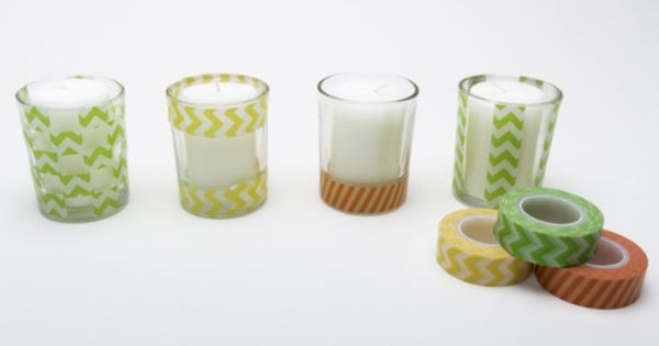 .Decorative Votives with washi tape