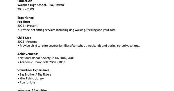 High School Resume Template No Work Experienced -