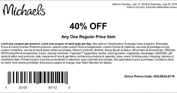 Michaels Coupon 40 Off With Coupon Groupon Michaels Coupon Artfully Sent Free Printable Coupons