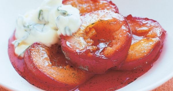 Vanilla plums with basil mascarpone | Recipe | Mascarpone, Basil and ...