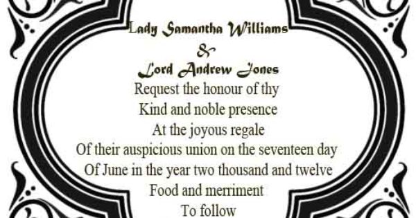 medieval wedding invitations wording - Google Search ...