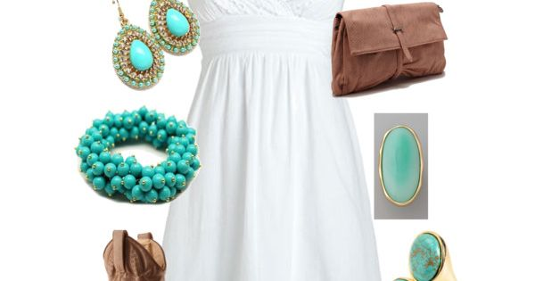 Fun summer outfit. Love the turquoise. Can't beat a white dress with