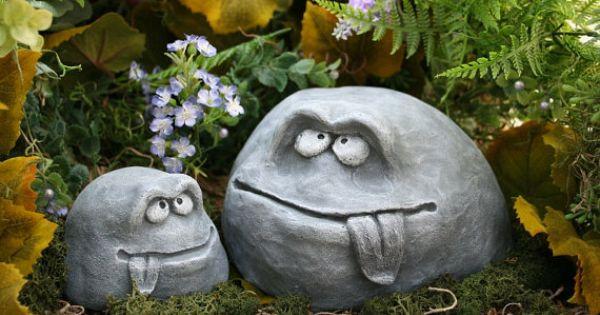 Funny garden rock face heads concrete garden decor for the family