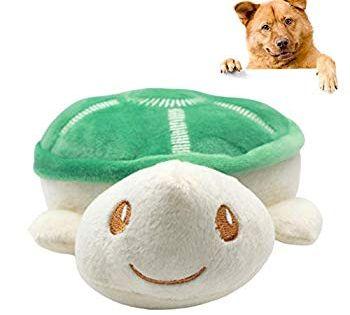Eamoney Dog Squeaky Toy Tortoise Shape Doll No Stuffing Plush Pet