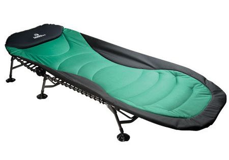 Telescopic legs for uneven ground. Padded camping cot