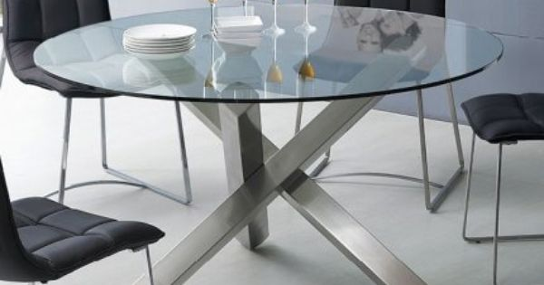 Round Glass Dining Table With Unique Metal Base Glass Round