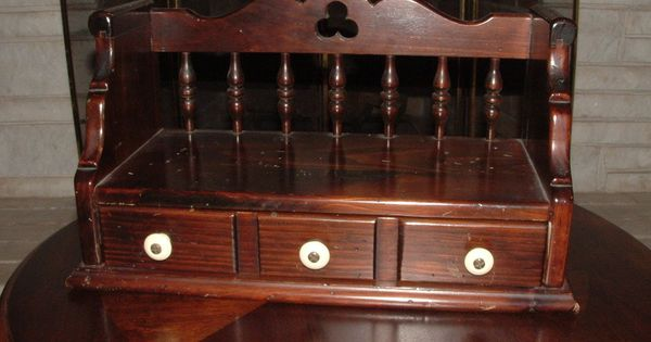 Vintage Ethan Allen Dark Pine Wood Wall Shelf Drawer