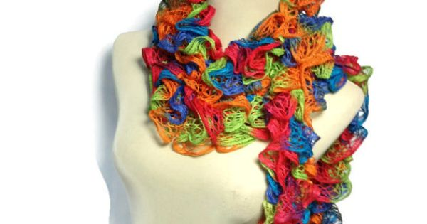 Crochet Vs Knit Scarf : Hand Knit Scarf Ruffle Scarf Pink Orange Blue Green Ruffle scarf ...