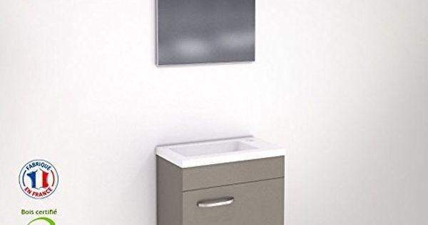 Meuble wc lave main faible profondeur laqu taupe avec - Wc faible profondeur ...
