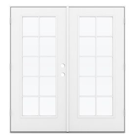 Reliabilt 71 5 In 10 Lite Glass Primed Fiberglass French Outswing Patio Door Lowoljw182300108 French Doors Patio Patio Doors Jeld Wen