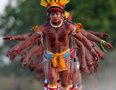 Brazil Yawalapiti men dance during the celebration of this years quarup, a