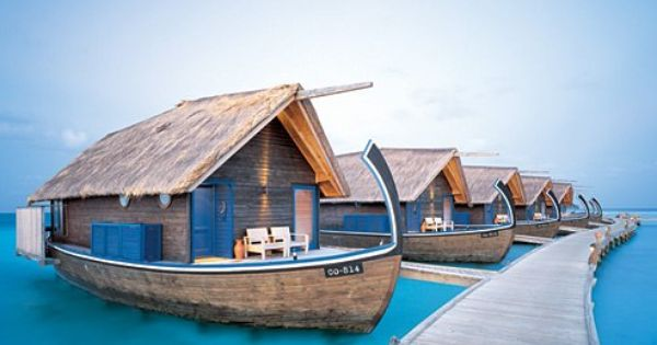 Cocoa Island's 23-room hotel that features suites resembling local dhoni fishing boats