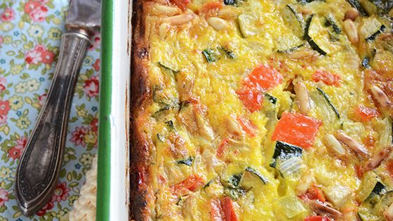 Roasted Vegetable Crustless Quiche with Basil & Pine Nuts ...