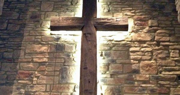 Original Patina Antique Timber Cross Decorative Bevel Cut