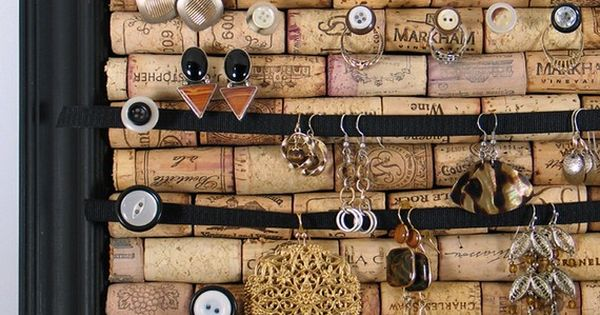 cork board w/ button pins - jewelry display. good reason to booze