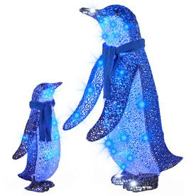 Gemmy Pre Lit Penguin Sculpture With Multi Function Blue Led Lights Outdoor Christmas Outdoor Christmas Decorations Blue Led Lights