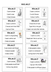 Guess The Job Printable Worksheets