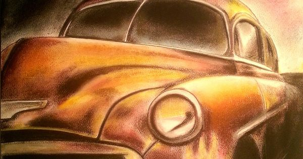 A Classic Chevrolet Car - Size: 35x50 cm - Drawing ...