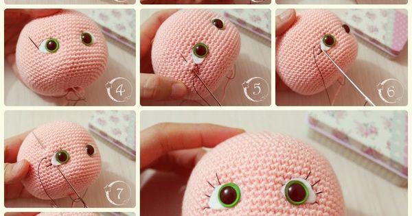 Amigurumi Eyelashes : Eyelash makeup of the Amigurumi doll Amigurumi ...