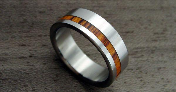 Titanium and Wood wedding ring