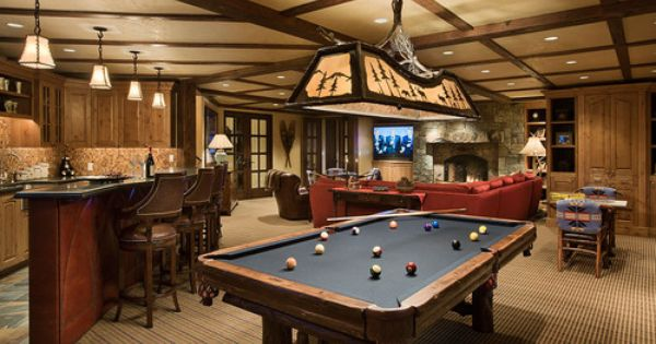 Ideas For Pool Table Room dark media room with pool table Granite Ridge Timber Frame Jackson Hole Wy Traditional Family Room Denver Teton Heritage Builders Lake House Pinterest Beautiful