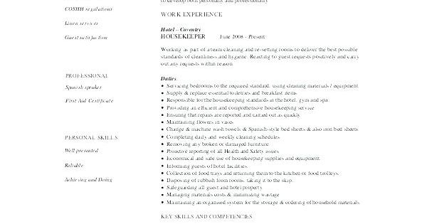 76 Elegant Photos Of Resume Examples For Housekeeping At A Hospital