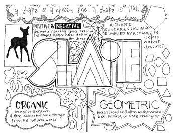 Art Elements Shape Coloring Page Notes Art Handouts Elements Of Art Shape Coloring Pages