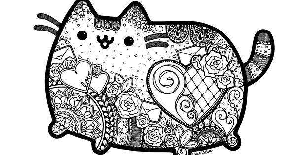 shelly beauchamp zen tangles coloring pages | Pusheen inspired zentangle with mandalas. Great coloring ...