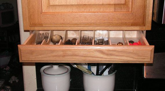 Under cabinet drawer silverware storage by for Silverware storage no drawers