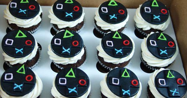Playstation Cupcakes Birthday Cupcakes Boy Video Games Birthday