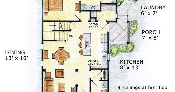 First floor plan of cabin cottage craftsman farmhouse House plans for long narrow lots