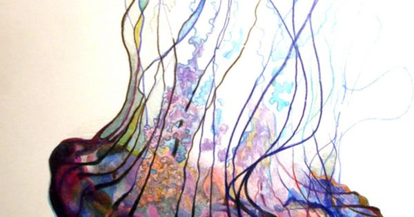 Jellyfish watercolor - doesn't always have to be upright. This is so
