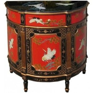 Commode Chinoise Ancienne Rouge Et Noire Laquee 650 Meuble Chinois Mobilier De Salon Chinois