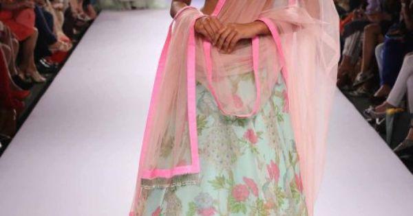 TDB Picks Mint green and pink floral lehenga Anushree Reddy at Lakme