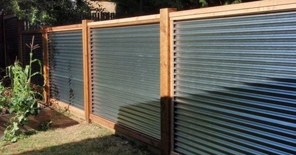 corrugated metal fence ideas - Google Search